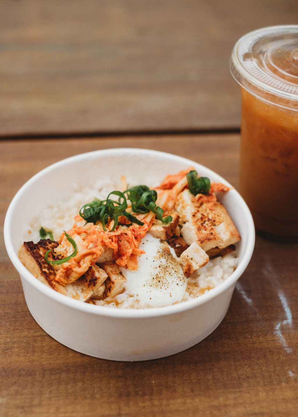 Brown Rice Porridge and Iced Joe Horchatte from My Name is Joe Coffee Co. in Austin, TX