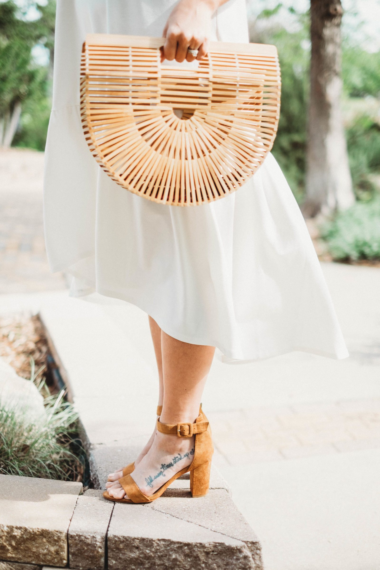 Easter Attire: White Leith Flounce Dress, Cult Gaia Ark Bag and Camel Suede Block Heel Sandals