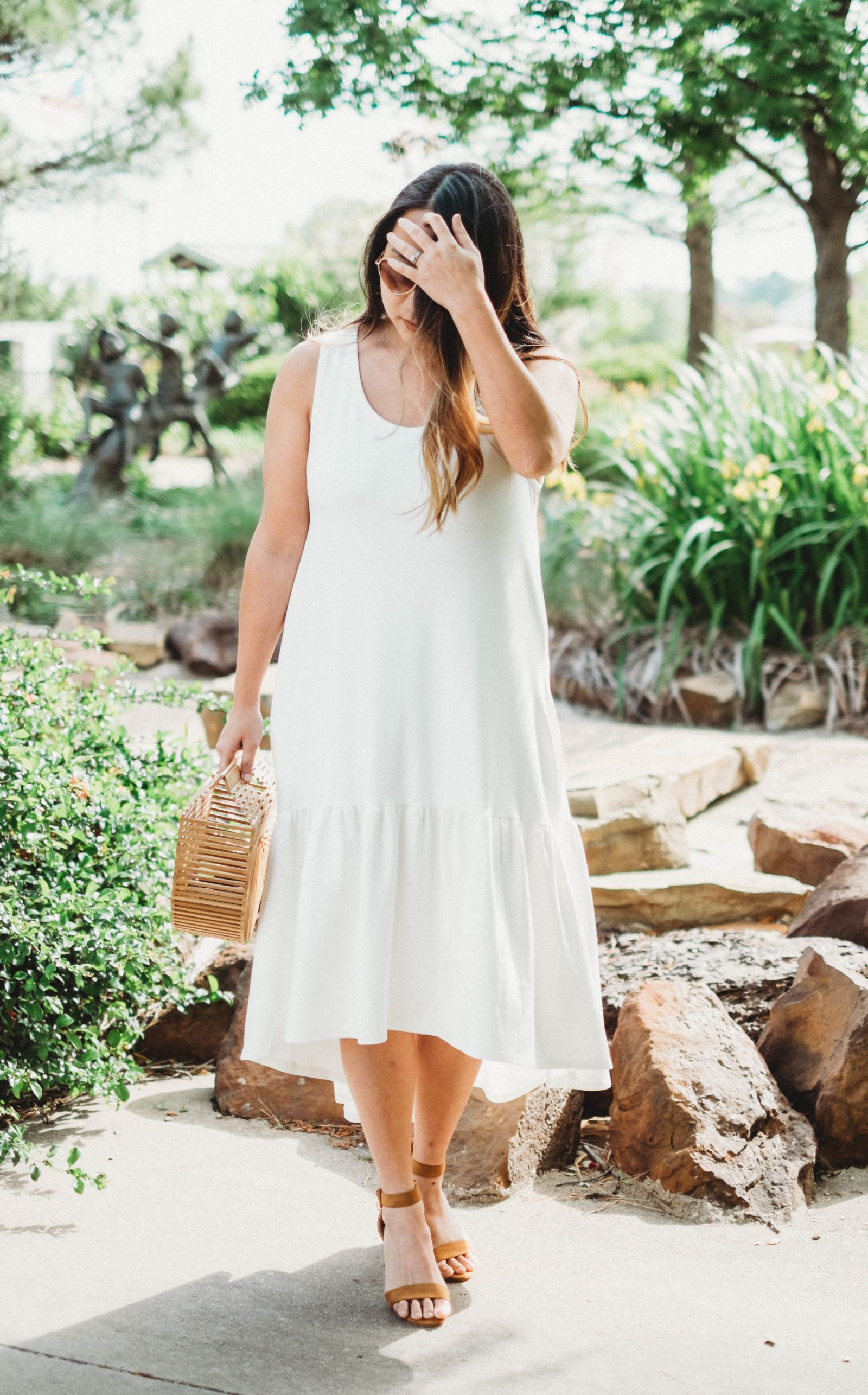 White Leith Flounce Dress and Cult Gaia Ark Bag